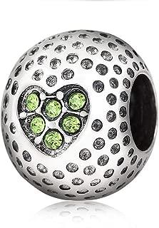 Golf Charm 925 Sterling Silver Ball charm Sport Charm Christmas Charm for DIY Charm Bracelet (Green)
