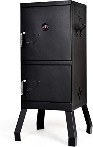new arrival Giantex Vertical Charcoal Smoker, 2-Tier Outdoor wholesale Smoker with Detachable Smoking Racks, Thermometer, Air Vents for Barbecue Camping new arrival Backyard Grill outlet online sale