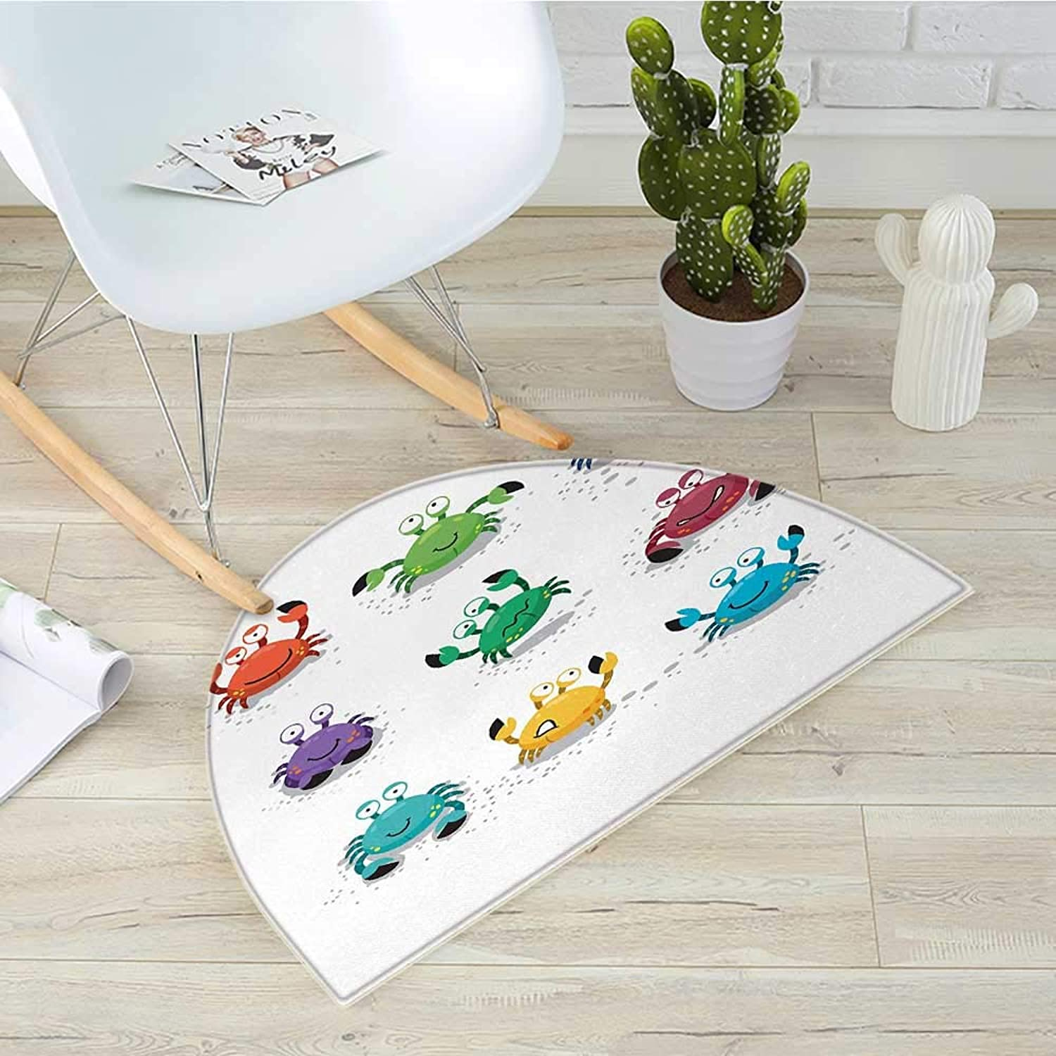 Crabs Half Round Door mats Joyful Cartoon Style colorful Crab Characters with Various Expressions and Emotions Bathroom Mat H 39.3  xD 59  Multicolor