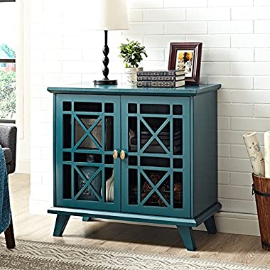 WE Furniture 32  Fretwork Accent Console - Blue