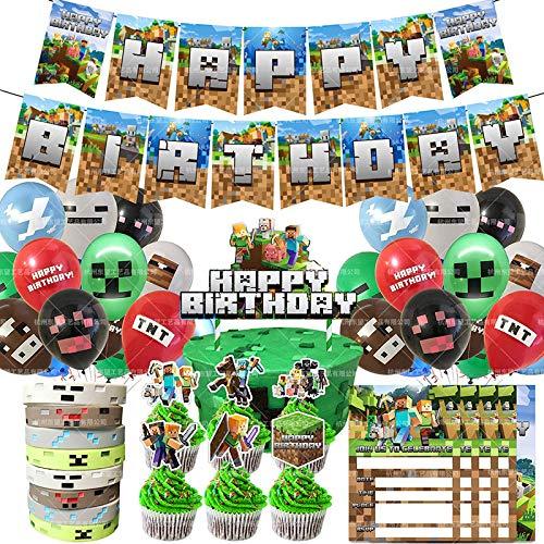 shengping Minecraft Party Dekoration Set Pixel Armband Ballon Einladung Carla Flag Cake Insert GeburtstagszubehöR