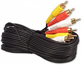 20FT 3-RCA (L + R + V) Composite AV Audio Video Cable Gold Plated Male M/M 20'