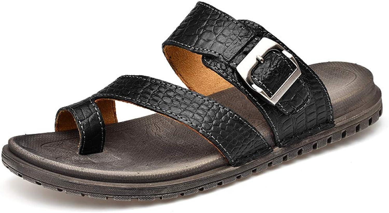 QRETYSG flip flop New Summer Men's Slippers Brown Black Beach Flip Flops Men's Slides Flat Outdoor Walking Sneakers