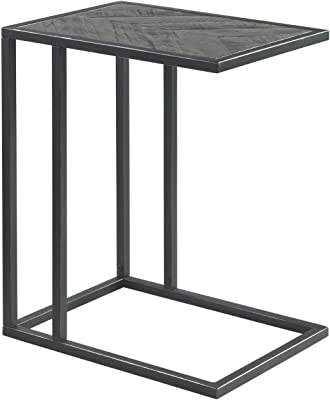 Benjara 24 Inch Wooden Top Metal Frame C Table, Gray