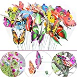LeBeila Butterfly Stakes - 24 Garden Decor Butterflies Yard Decorations Lawn Patio Art Ornaments Waterproof Butterfly for Indoor Outdoor Planter Flower Pot Bed, Christmas & Party Supplies Crafts (24)