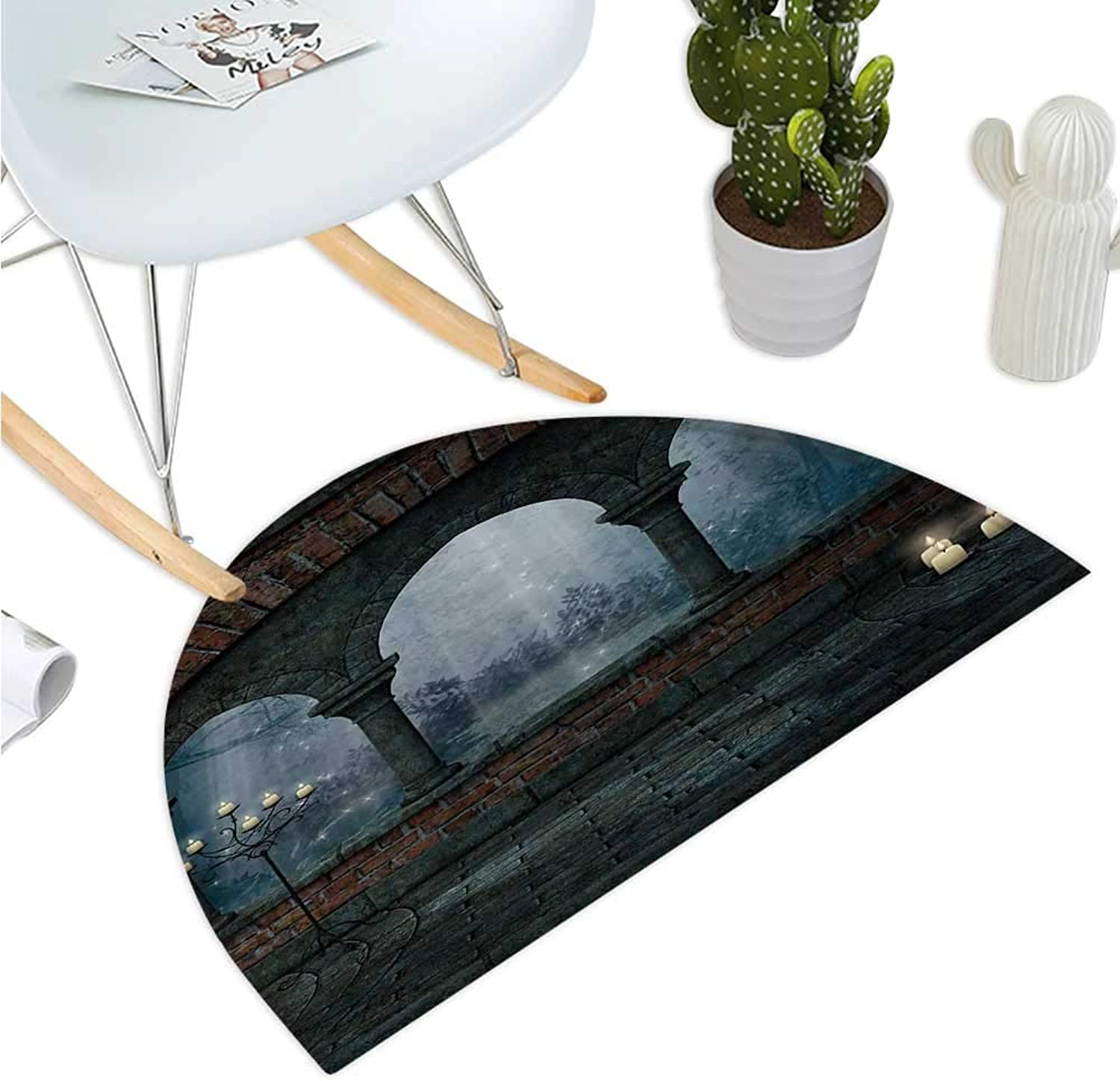 Gothic Semicircular Cushion Medieval Castle at Night with Old Arch and Candles Middle Age Misty Image Entry Door Mat H 35.4  xD 53.1  bluee Grey and Red