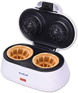 Double Waffle Bowl Maker by StarBlue - White - Make bowl shapes Belgian waffles in minutes   Best for serving ice cream and fruit   Gift ideas 110V 50/60Hz 1200W