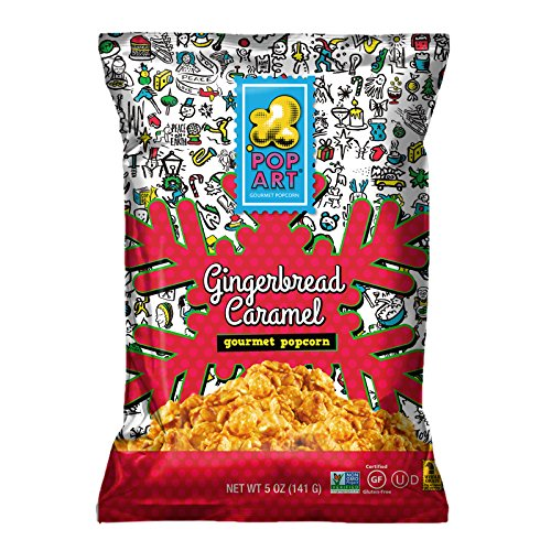 Pop Art Snacks - Gingerbread Caramel (6 Ounce Bag) Pre Cooked Gourmet Popcorn - Gluten-Free Healthy Popcorns Snacks for Kids and Adults, Holiday Snack