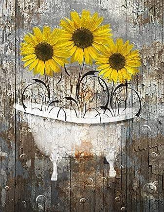 "Rustic Yellow Brown Wall Art, Sunflower Decor, Farmhouse Bathroom 8""x10"" with 11""x14"" White Mat Littlepiecreations Original Home Decor Wall Art"