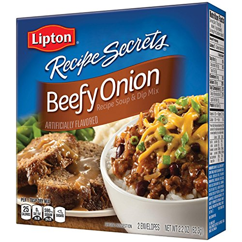 Lipton Recipe Secrets Soup and Dip Mix For a Delicious Meal Beefy Onion Flavor Great With Your Favorite Recipes 2.2 oz 2 Count