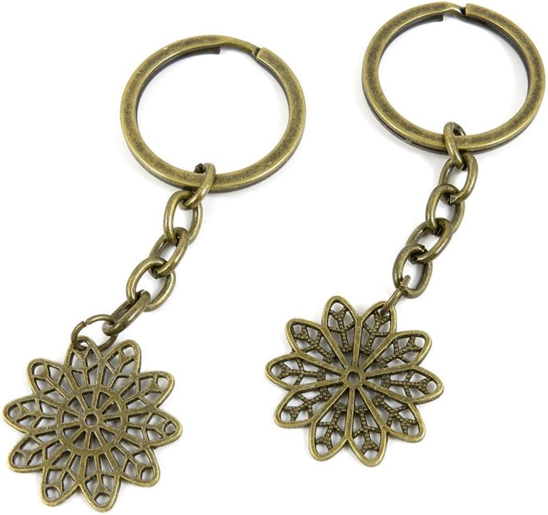 100 PCS Keyrings Keychains Key Ring Chains Tags Jewelry Findings Clasps Buckles Supplies M3EK7 Flower Petal