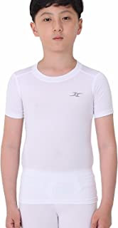 Kids Compression Shirt Underwear Boys Youth Under Base Layer Short Sleeve Top SK WH S