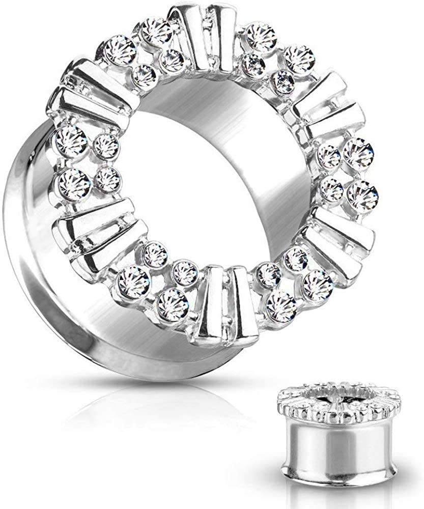 Covet Jewelry 316L Surgical Steel Double Flared Tunnel with CZ Decorated Front Rim