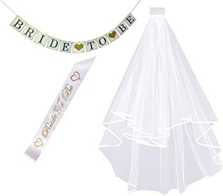 White Double Ribbon Edge Bridal Wedding Veil with Comb +Bride To Be Satin Sash and banner - Bachelorette Party Decorations Supplies