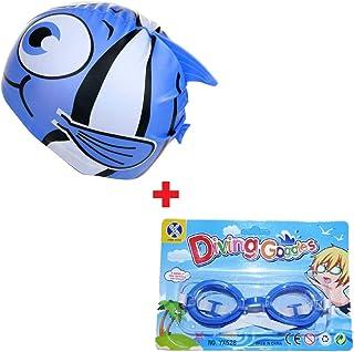 ec1ad2e1f Kit Touca Infantil Esporte + Óculos Natação Peixinho Azul Piscina Nadar  Colégio Escola Frete Grátis todo
