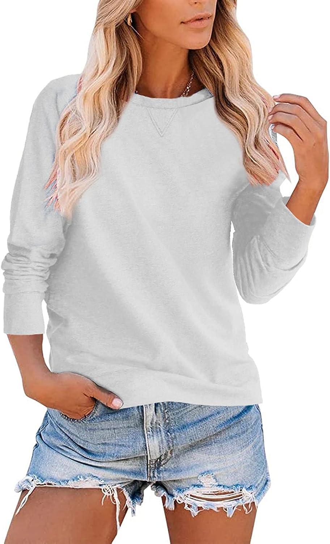 Heltapy Womens Simple Tops Crewneck Sweatshirt Casual Raglan Long Sleeve Plain Pullover