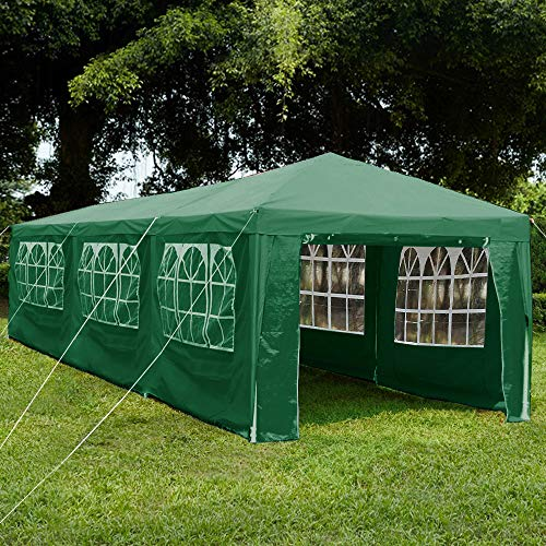 Garden Vida Gazebo with Side Panels 3x9m Marquee Zip Up Party Tent Outdoor Garden Canopy Waterproof with Wind Bars, Green