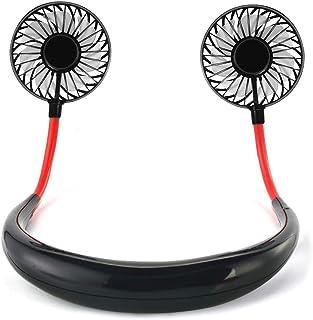 USB扇風機 Jacess【2019年最新型】 2600mAh 7枚羽根 首かけ 携帯扇風機 ハンズフリー ポータブル 扇風機 持ち運び便利 小型扇風機 3段階風量調節 卓上扇風機 角度調整可能 ハンディファン 静音 省エネ usb充電式 ミニ扇風機 熱中症対策 ブラック