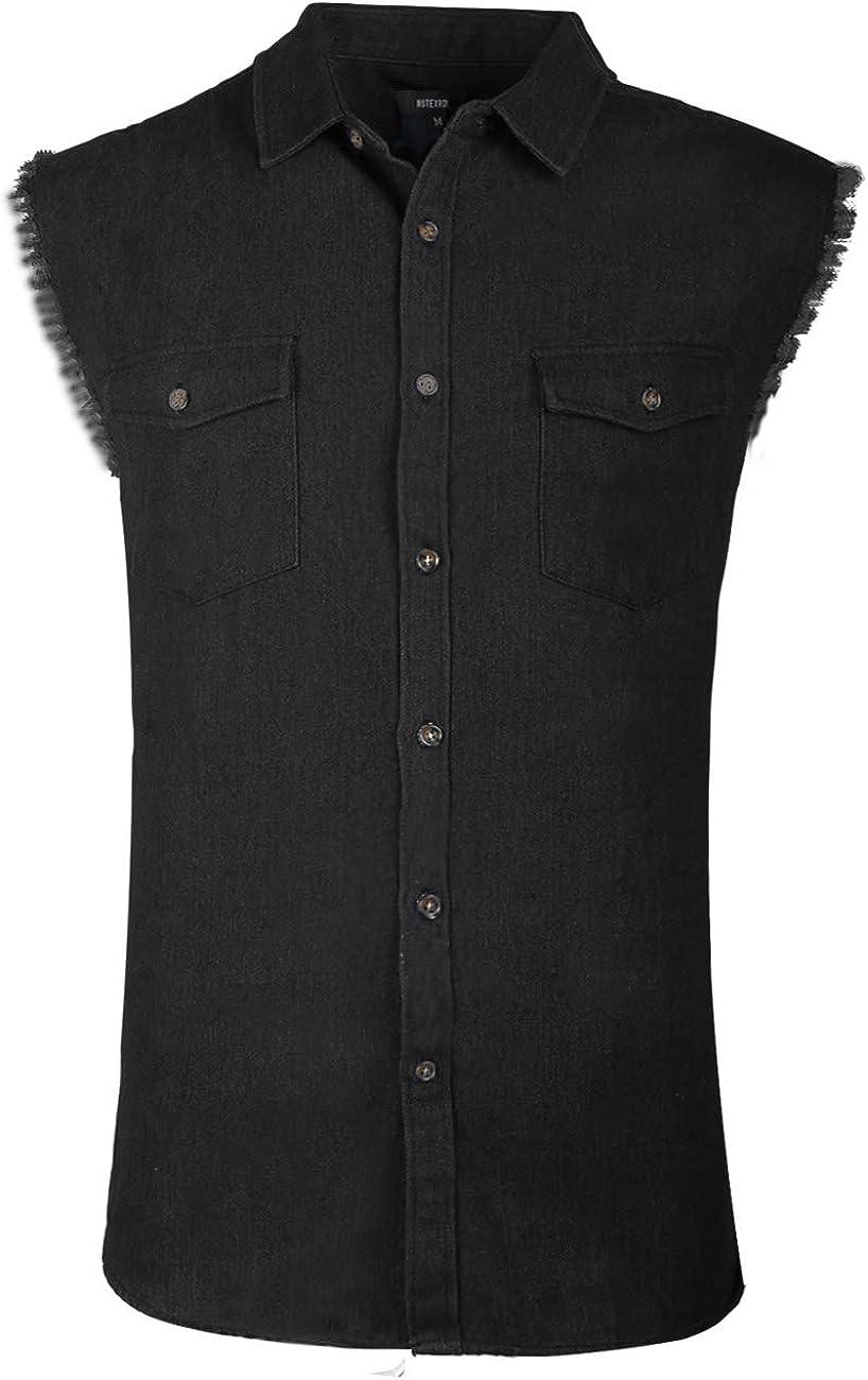 NUTEXROL Men's Sleeveless Denim/Cotton Shirt Biker Vest 2 Front Pockets