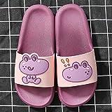 XZDNYDHGX Massage Foam Bathroom Slippers,Summer Cartoon Cute Home Slippers Women, Thick-Soled Couple Slide Shoes For Indoor Bath Bathroom Purple EU 37-38
