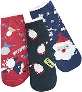 3 Pares De Invierno Niños De Santa Claus Caricatura De Navidad Christmas Gruesas Calcetines De Lana Caliente Tobilleros Antideslizantes