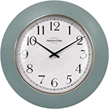 ساعة حائط مطبخ مزرعة عصرية مقاس 30.48 سم من بريسن تايم آند كو، تصميم عتيق، عدسات مقدمة، حلقة ذهبية صباحية، لون أزرق مائل ل...