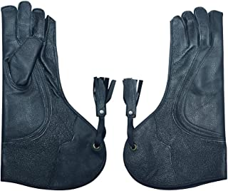 HTTC- FG- Cow-Hide Nubuck Leather falconry Gloves for Eagle Hawk Hunting Birds Pets Long Wide Cuff