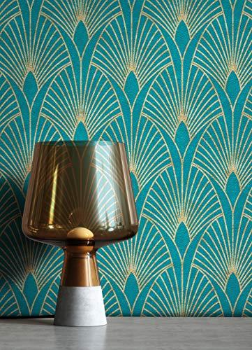 NEWROOM Tapete Blau Vliestapete Pfauenfeder - Mustertapete Modern Gold Petrol Blätter Ornamente Retro Grafisch 50er Art Glamour inkl. Tapezier-Ratgeber