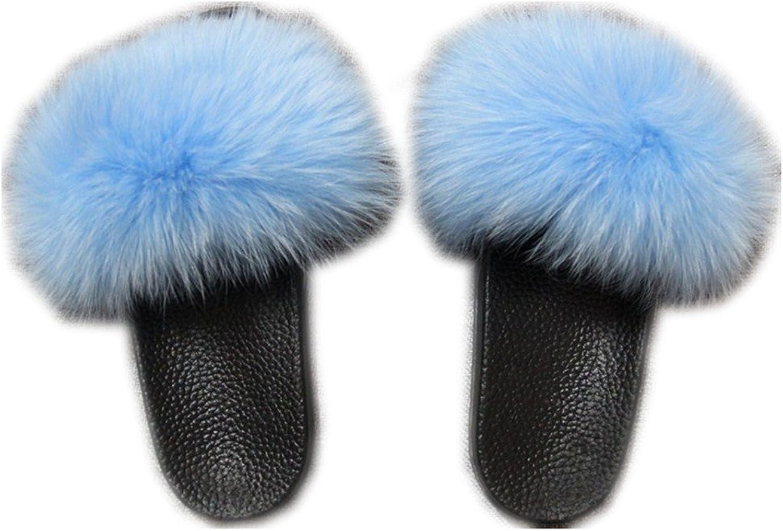 QMFUR Women Real Fox Fur Open Toe Slipper (10, bluee)