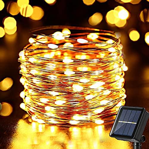 Solar Lichterkette Aussen, NEXVIN 10M 100 LED Kupferdraht Lichterkette Outdoor, 8 Modi Solarlichterkette Außen Wetterfest für Balkon, Garten, Baum, Hochzeit, Party Deko (Warmweiß)