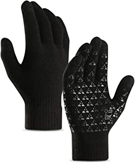 DZRZVD Winter Warm Touchscreen Gloves for Women Men Knit Wool Lined Texting