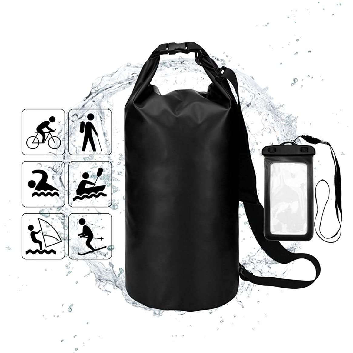 YEFFO Floating Waterproof Dry Bag 10L-500D PVC Tarpaulin| Floating Dry Gear Bags for Boating,Kayaking,Rafting,Fishing, Swimming,Hiking and Camping with Waterproof Phone Case(Black+Black)