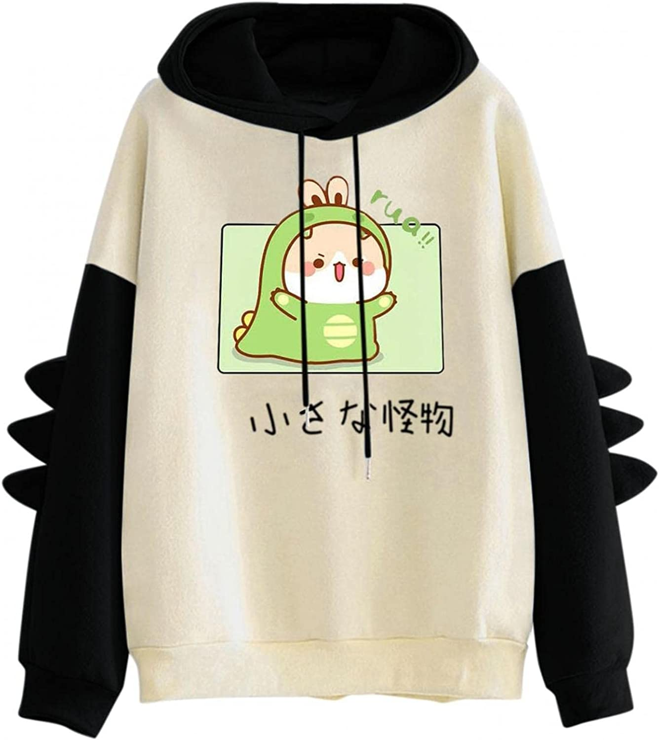Haheyrte Hoodies for Womens Womens Dinosaur Print Hooded Sweatshirts Casual Loose Long Sleeve Pullover Tops Sweaters Shirts