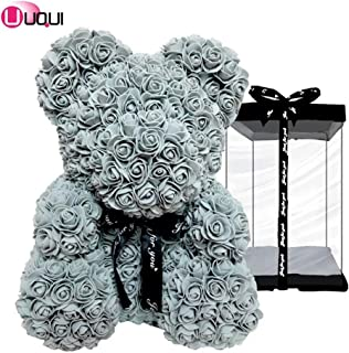 U UQUI Fully Assembled 10 inch Teddy Bear - Over 10 Dozen Artificial Flowers - Best Gift for Valentines Day, Anniversary, Birthdays & Bridal Showers (Grey) -Clear Gift Box
