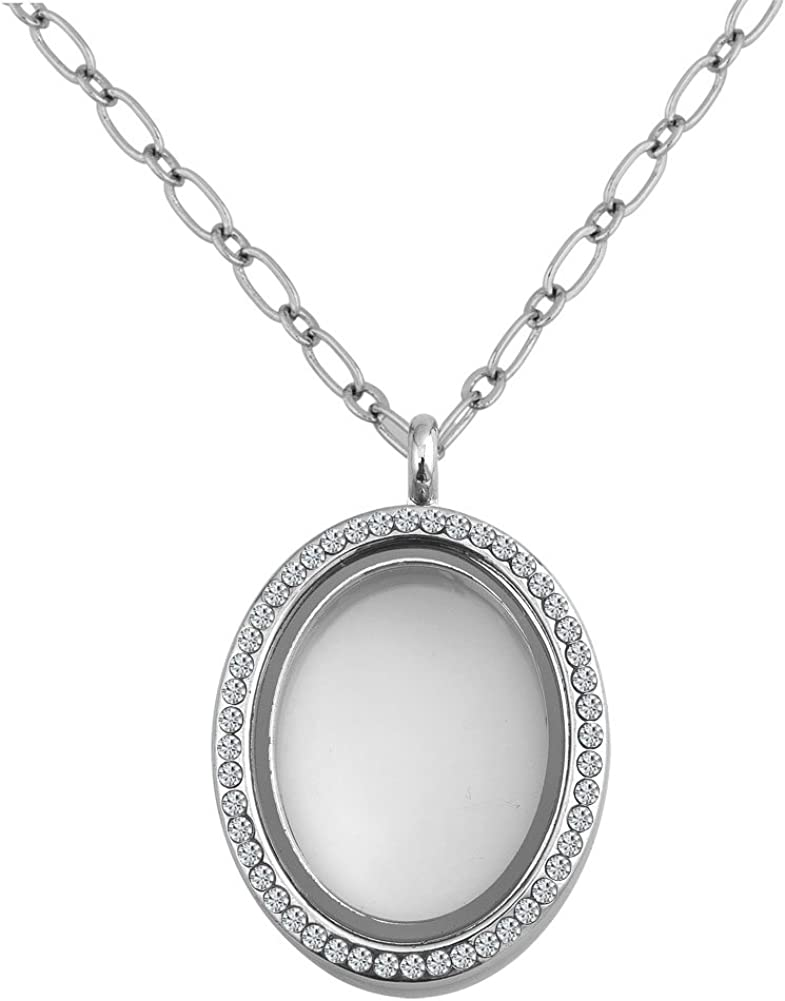 Q&Locket Clear Womens Glass Oval Floating Charms Living Memory Locket Pendant Necklace