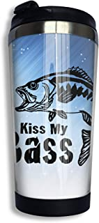 Coffee Travel Mug Kiss My Bass Bottle Car Tumbler Cup Iced Tea Or Water Insulated Thermal Cup Stainless Steel for Hiking, Camping & Working