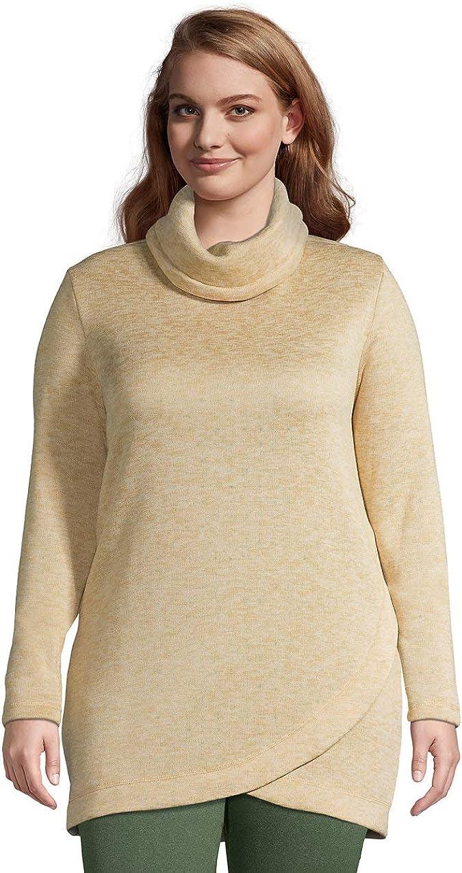 Lands' End Women's Sweater Fleece Cowl Neck Tunic Pullover