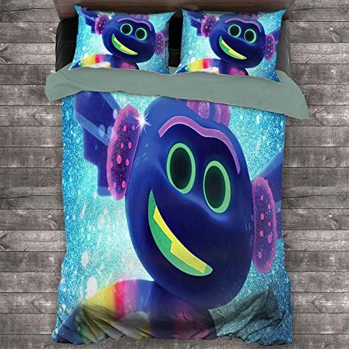 Trolls World Tour Bedding Set 3 Piece Set All Season Quilt Set Comforter Cover with and 2 Pillow Shams Soft Comfy Breathable, US Full 78.7 x 90.1 in, King Trollex