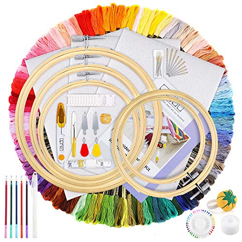 Caydo Hand Embroidery Kit with Instructions, 100 Colors Threads, 40 Sewing Pins, 3 Pieces Aida Cloth, Embroidery Hoops and Cross Stitch Tools for Adults and Kids Beginners
