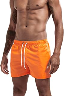 YEONUW Men's Sport Running Beach Short Board Pants Hot Sell Swim Trunk Pants Quick-drying With Pocket Male Surfing Shorts GYM Swimwear (Color : Orange, Size : L)