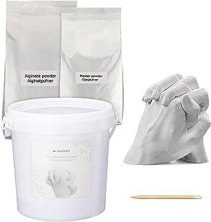 Navaris Kit 3D para moldes de Manos y pies - Molde de Yeso alginato para Mano y pie para Familia Adultos niños - para 2 Ma...