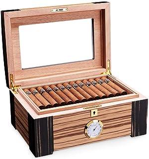 صندوق سيجار زجاجي علوي من خشب الأرز، علبة تخزين من خشب الأرز، مرطب مرطب الرطوبة سيجار التدخين إكسسوارات هدايا