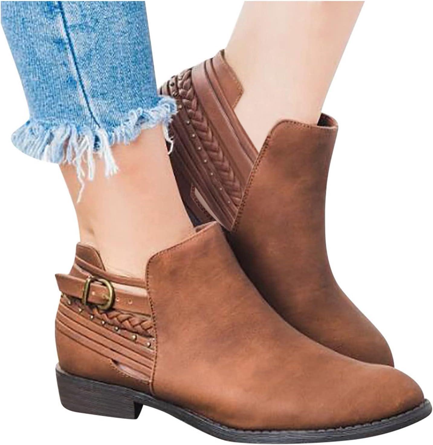 NOLDARES Boots for Women Winter Warm Roman Retro Flat Short Booties Comfort Ankle Zipper Boots Squared Toe Snow Boots
