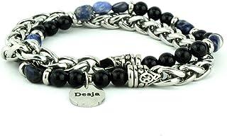Bracciale doppio giro catena in acciaio con pietra dura onice nero ed sodalite braccialetto da uomo e braccialetto da donn...