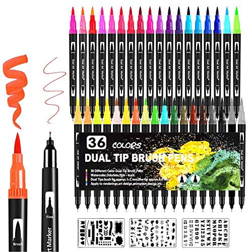 Qhui Rotuladores Lettering 36 Colores y 3 Plantillas Rotuladores Punta Pincel Rotuladores Acuarelables Doble Punta para Acuarelas Dibujos y Caligrafía Cómics