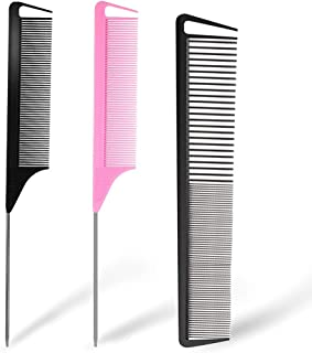 3 Pieces Rat Tail Comb Carbon Fiber Teasing Combs Parting Braids Comb Stainless Steel Pintail Comb Barber Styling Combs fo...