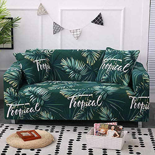 Anoauit Green Leaf Printed Stretch Lazy Sofabezug All-Inclusive Universal rutschfeste Ledertuch Art Combination Sofabezug Handtuch-2_4 Sitzer