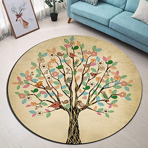 LB Árbol de la Vida Alfombra Redonda Flor y Hoja del pájaro en el árbol Interior Alfombra de Juego de la Puerta del Piso para Sala de Estar Dormitorio habitación de los niños,Diámetro de 120cm