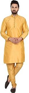 SKAVIJ Men's Tunic Art Silk Kurta Pajama Set Ethnic Indian Wear