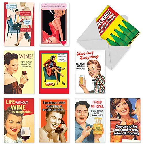 A1240 'Bottoms Up Assortment' - Assorted Box of 10 Funny Birthday Cards, W/12 Envelopes (10 Designs, 1 Card Per Design)